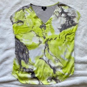 GUC Yellow and Gray Marble Print Blouse, Size S